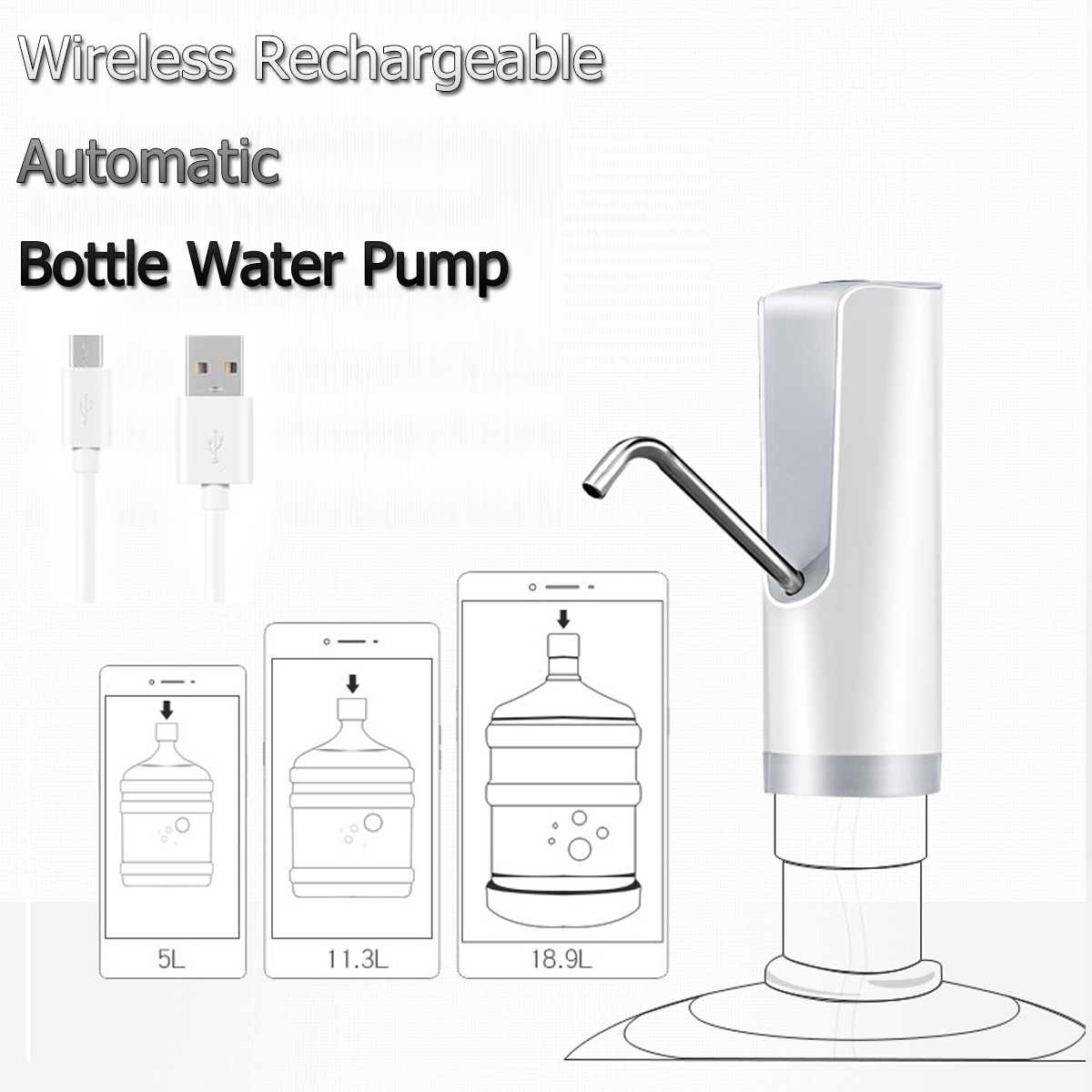 Electric Automatic Water Pump Dispenser Gallon Bottle Drinking Portable Button Switch With USB Cable