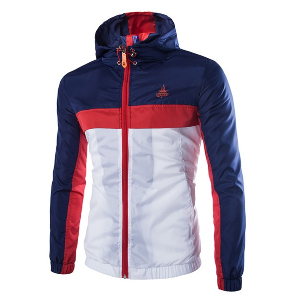 Mens Quick Dry Fluorescence Sports Windbreak Jacket Color Splicing Hooded Coat