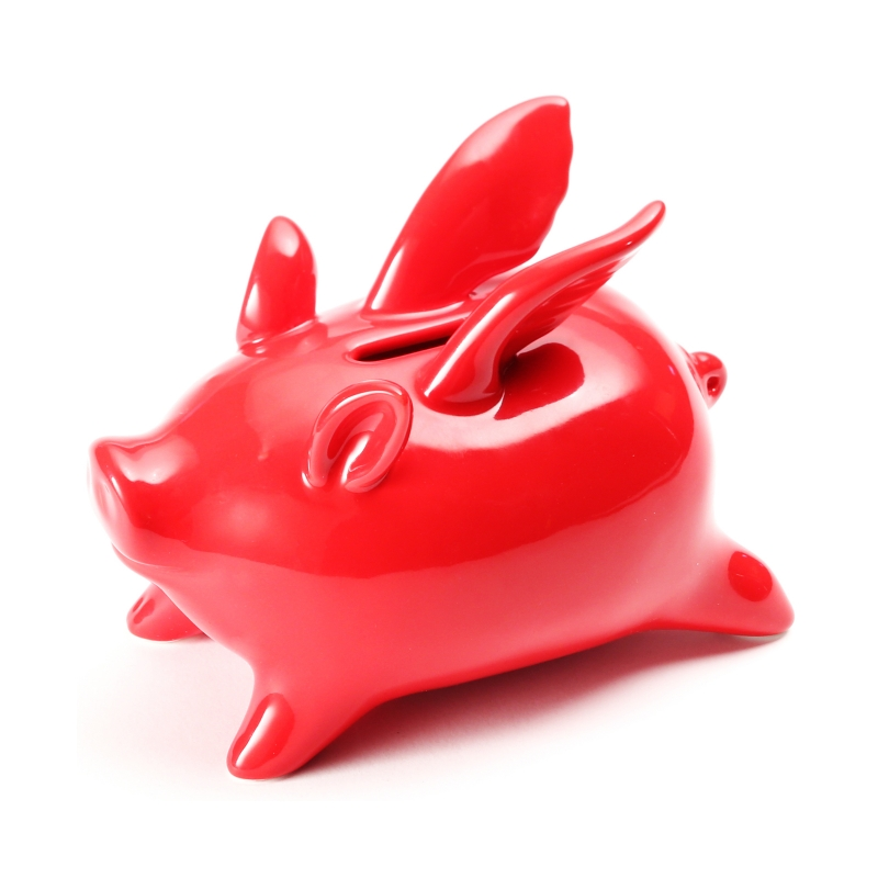 Xiaomi Red Ceramics Flying Pig High Temp Calcined Saving Pot Novelty Home Furnishing Articles