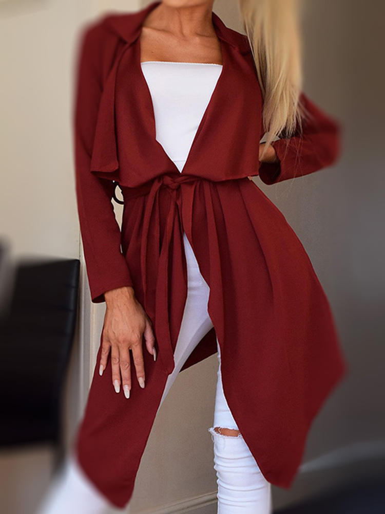 Autumn Casual Women Solid Color Irregular Hem Lapel Jacket