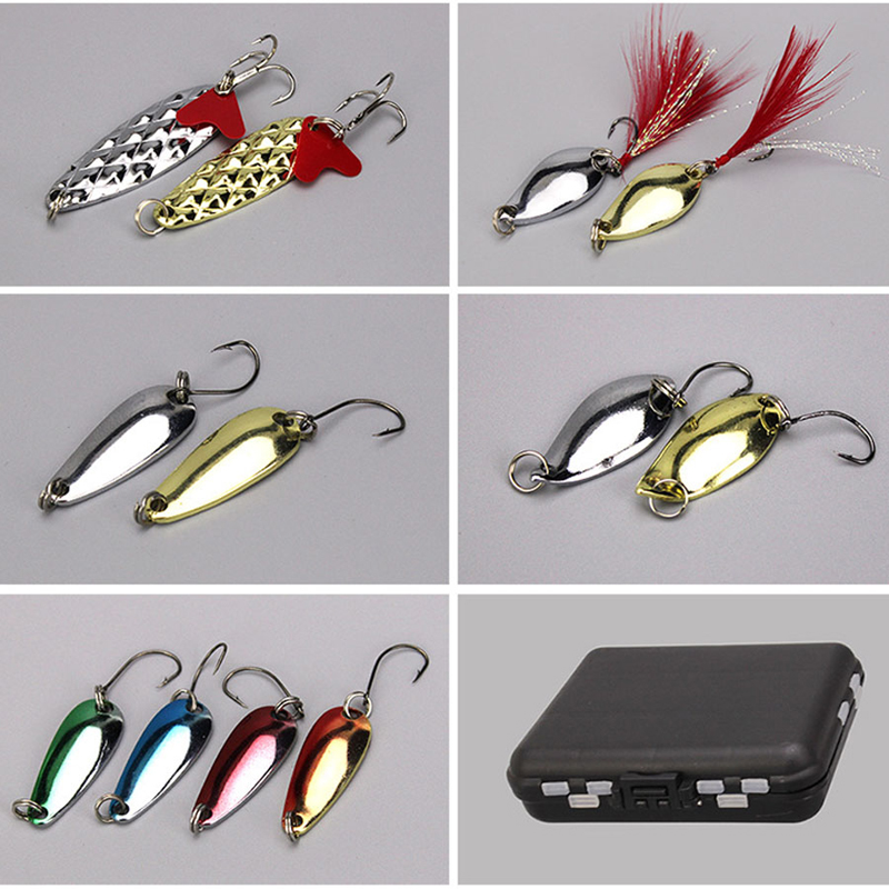 ZANLURE 36pcs/set Atificial Hard Bait Spinner Fishing Lure Luminous Beads Sequin Fishing Lure Suit