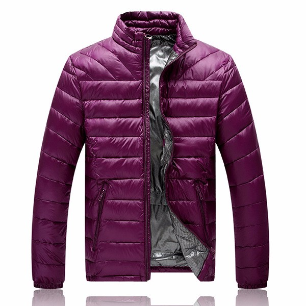 Mens Lightweight Winter Stylish Warm Down Jacket Stand Collar Pure Color Coat