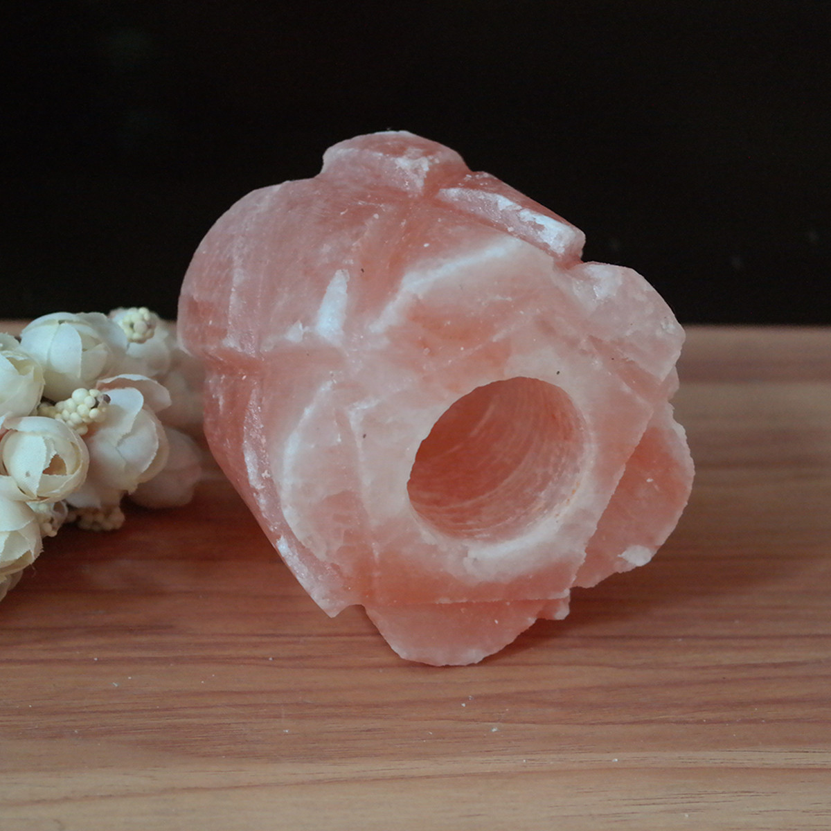 Cylindrical Flower Shape Himalayan Natural Crystal Rock Salt Lamp Candle Holder Home Decor