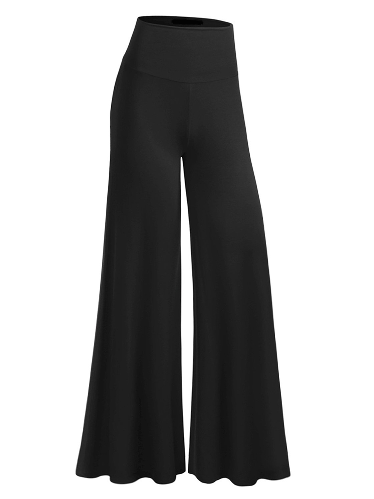 Casual Women Pure Color Stretch Sport Wide Leg Pants Trousers