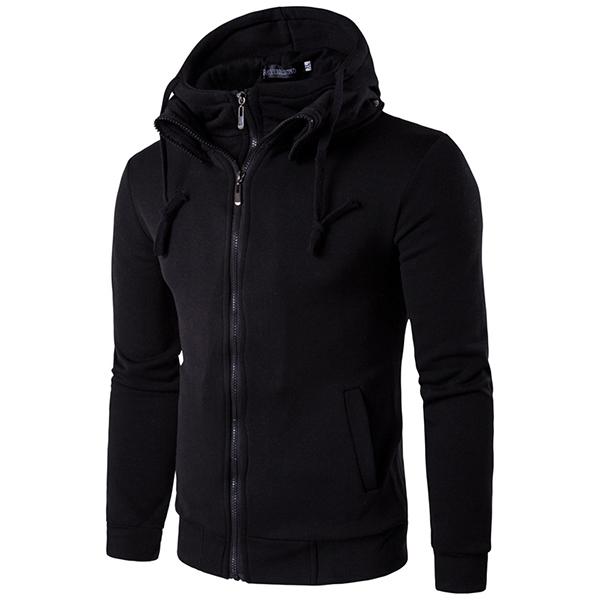 Spring Autumn Leisure Long Sleeved Sweater Personality Slim Zip Hooded Hoodies