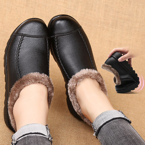 US Size 5-10 Soft Sole Slip On Leather Casual Fur Lining Shoes