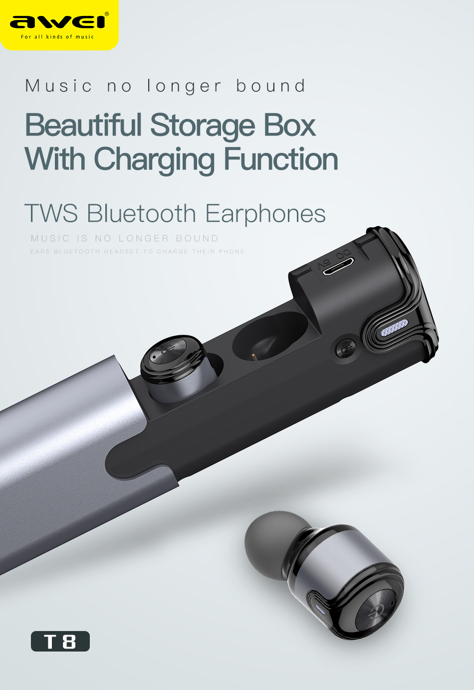 [True Wireless] Awei T8 Double bluetooth Earphone 3D Stereo Headphones with Charging Box Power Bank