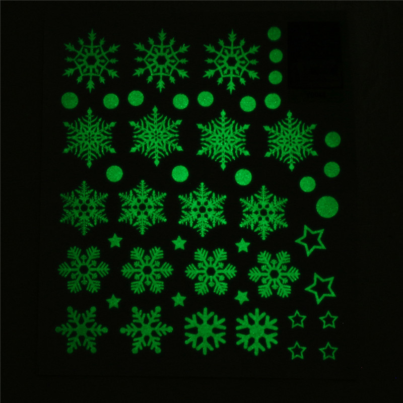 Christmas Party Home Decoration Snowflake Fluorescent Stickers Ornament Toys For Kids Children Gift