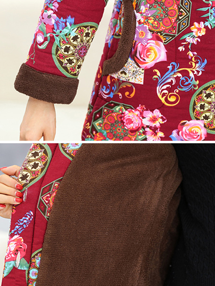 Autumn Winter Floral Print Buttons Thicken Hooded Coats