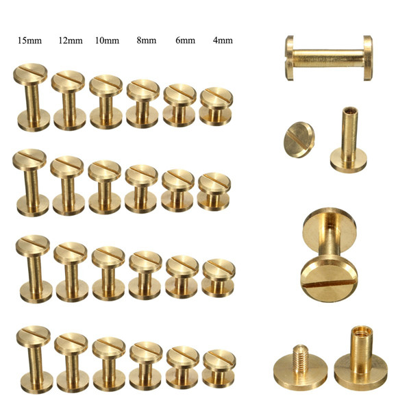 4-15mm Screw Back Button Stud Screw Brass Nail Leather Belt Chicago Rivet