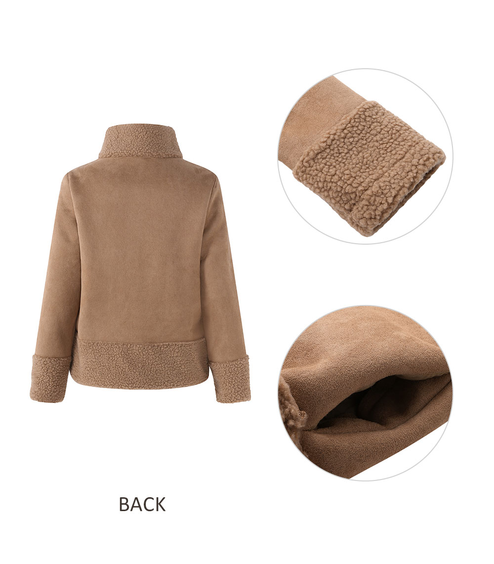 Plus Size Casual Women Turtleneck Coat Patchwork Jacket