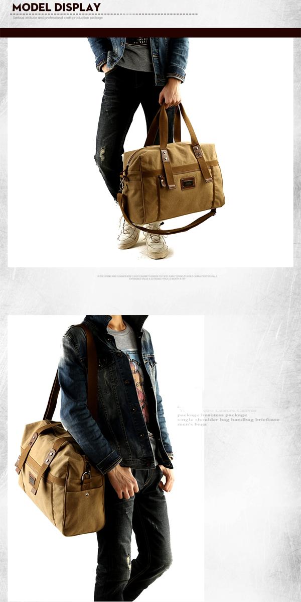Men Canvas Vintage Travel Holdall Bag Large Capacity Shoulder Bag Weekend Bag