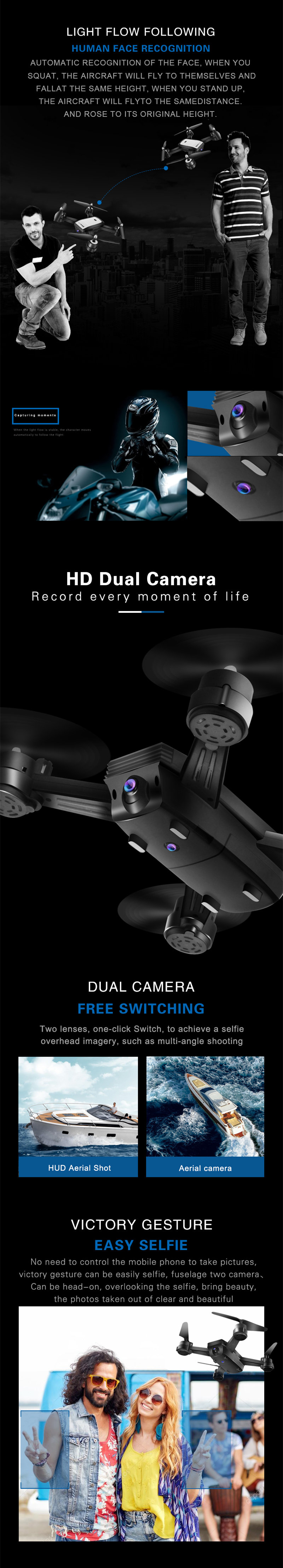 JDRC JD-X34F WIFI FPV With 2MP Dual Camera Optical Flow Positioning Foldable RC Drone Quadcopter RTF - Photo: 2