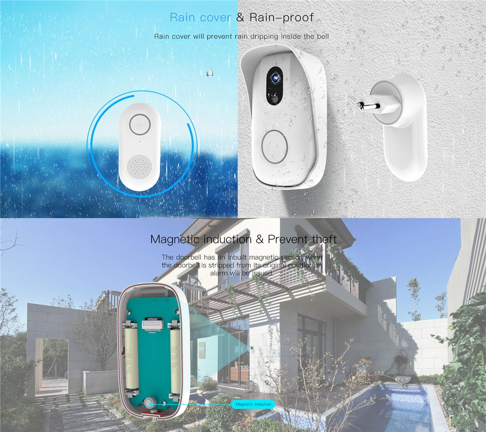 Vstarcam D2 WiIFi RF Wireless Video Doorbell Waterproof IP63 Camera HD Viewer Night Vision Intercom