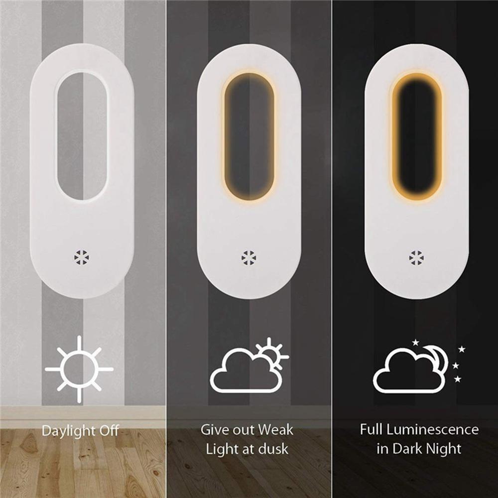 2pcs LED Light Sensor Night Lamp Socket Wall Plug-in Child bedroom Hallway AC100-240V