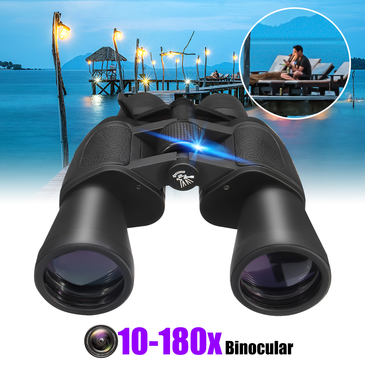 10-180x100 HD Optic Zoom Binocular Low Light Night Vision Wide Angle Telescope
