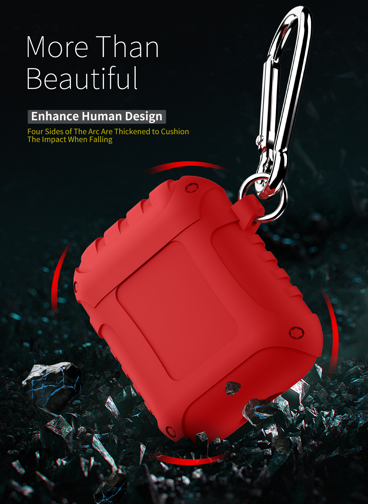 Bakeeky Waterproof Anti Lost Earphone Protective Case With Hook For Apple AirPods