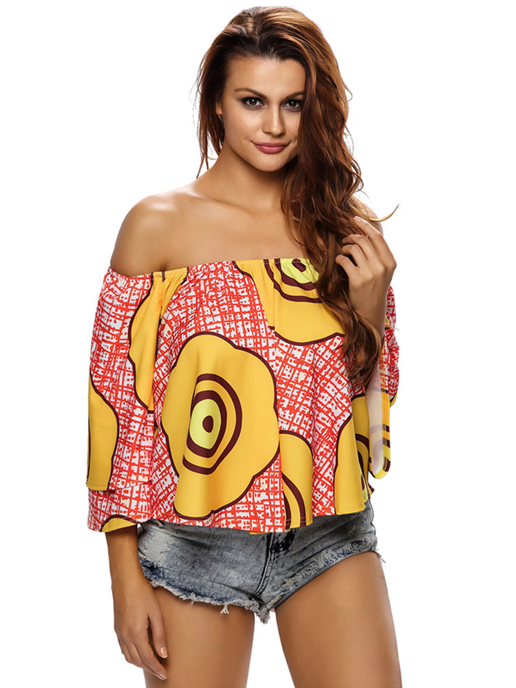 Women Sexy Off Shoulder Print Horn Sleeve Shirts