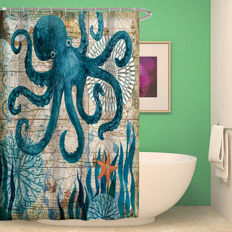 Sea Turtle Octopus Waterproof Shower Curtain with 12 Hooks Fabric Blue Printed Polyester Durable Indoor Outdoor Home Bathroom