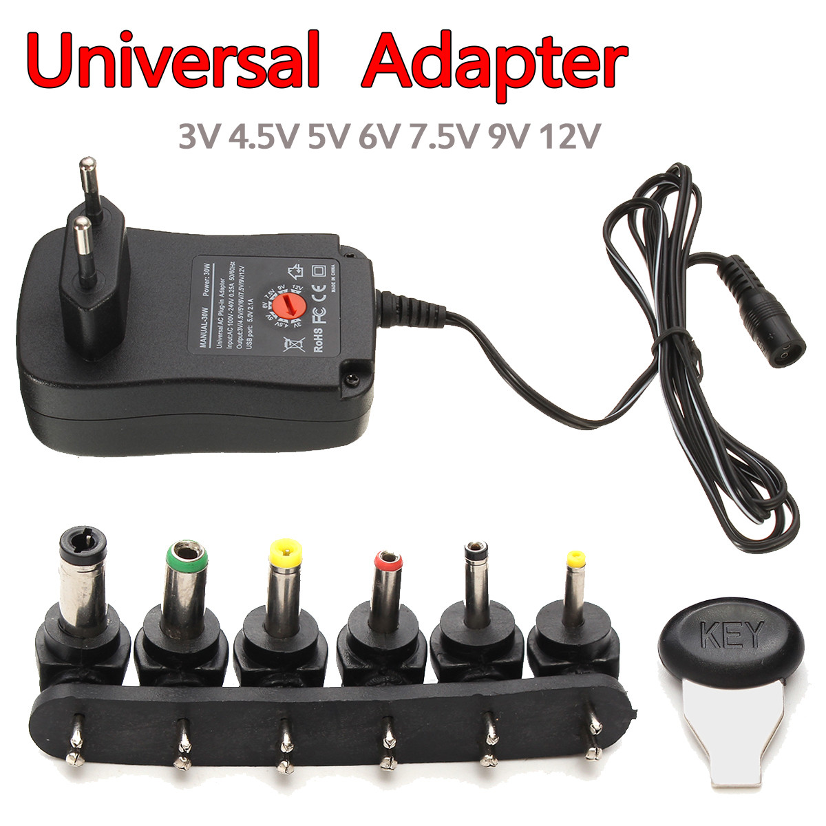 Universal 3/4.5/5/6/7.5/9/12V Voltage Converter Power Adapter Supply with USB Port EU Plug