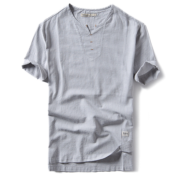 Mens Summer Casual Linen Short Sleeve T-shirt V-neck Collar Solid Color Tees