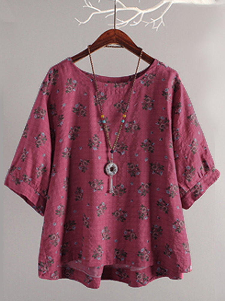 Women Casual Loose Retro Floral Print Blouse