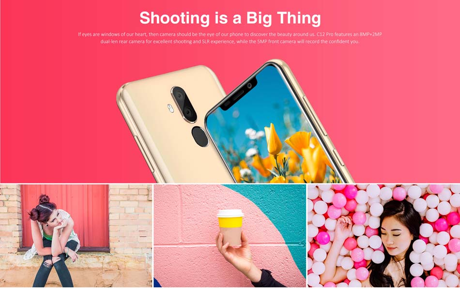 OUKITEL C12 Pro 6.18 Inch Android 8.1 3300mAh 2GB RAM 16GB ROM MT6739 1.3GHz Quad Core 4G Smartphone