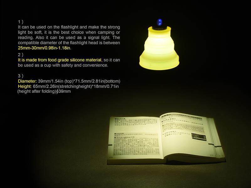 TOWILD Lantern DIY Foldable Portable Cup-shape Flashlight Diffuser For Reading Light Table Lamp Camping Lantern