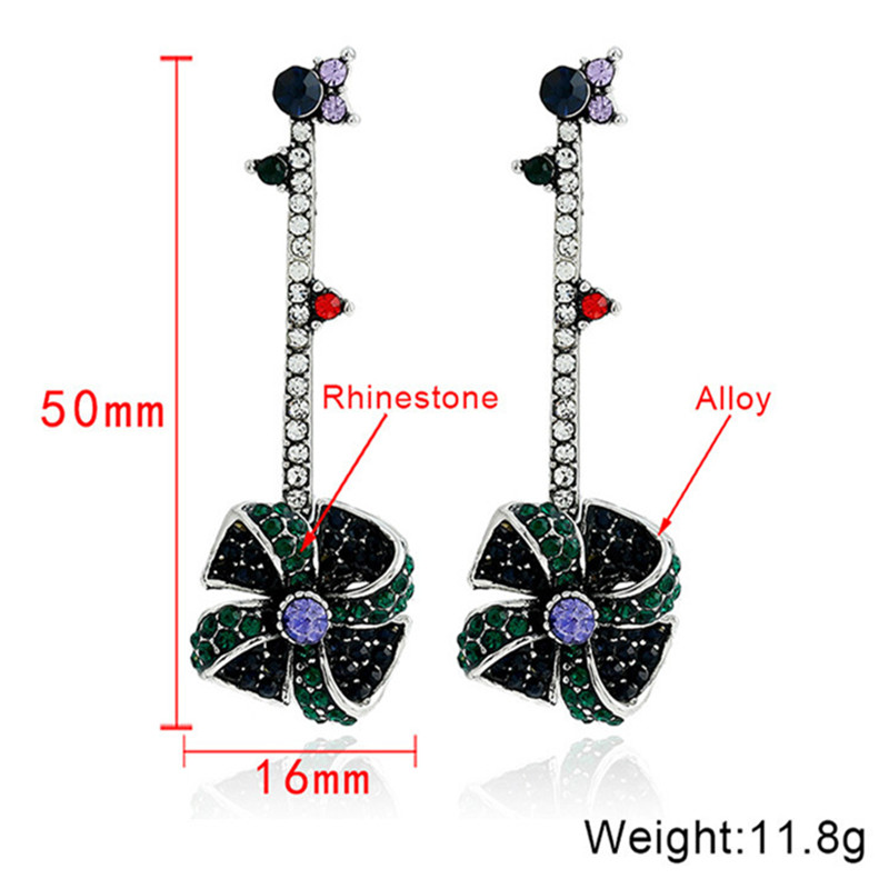Vintage Windmill Full Rhinestones Stick Dangle Earrings