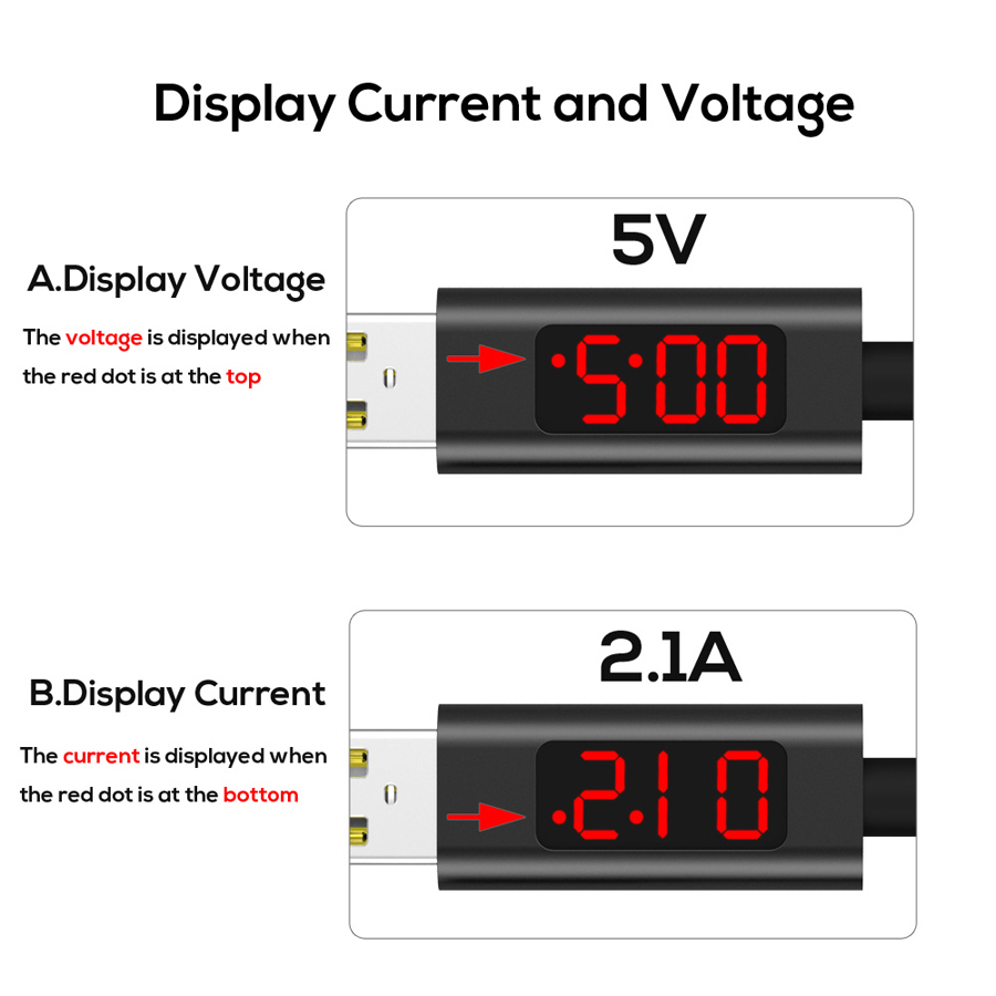 Bakeey 3A Type C Digital Voltage Current LED Display PVC Data Cable 1M for Samsung S8 Xiaomi 6