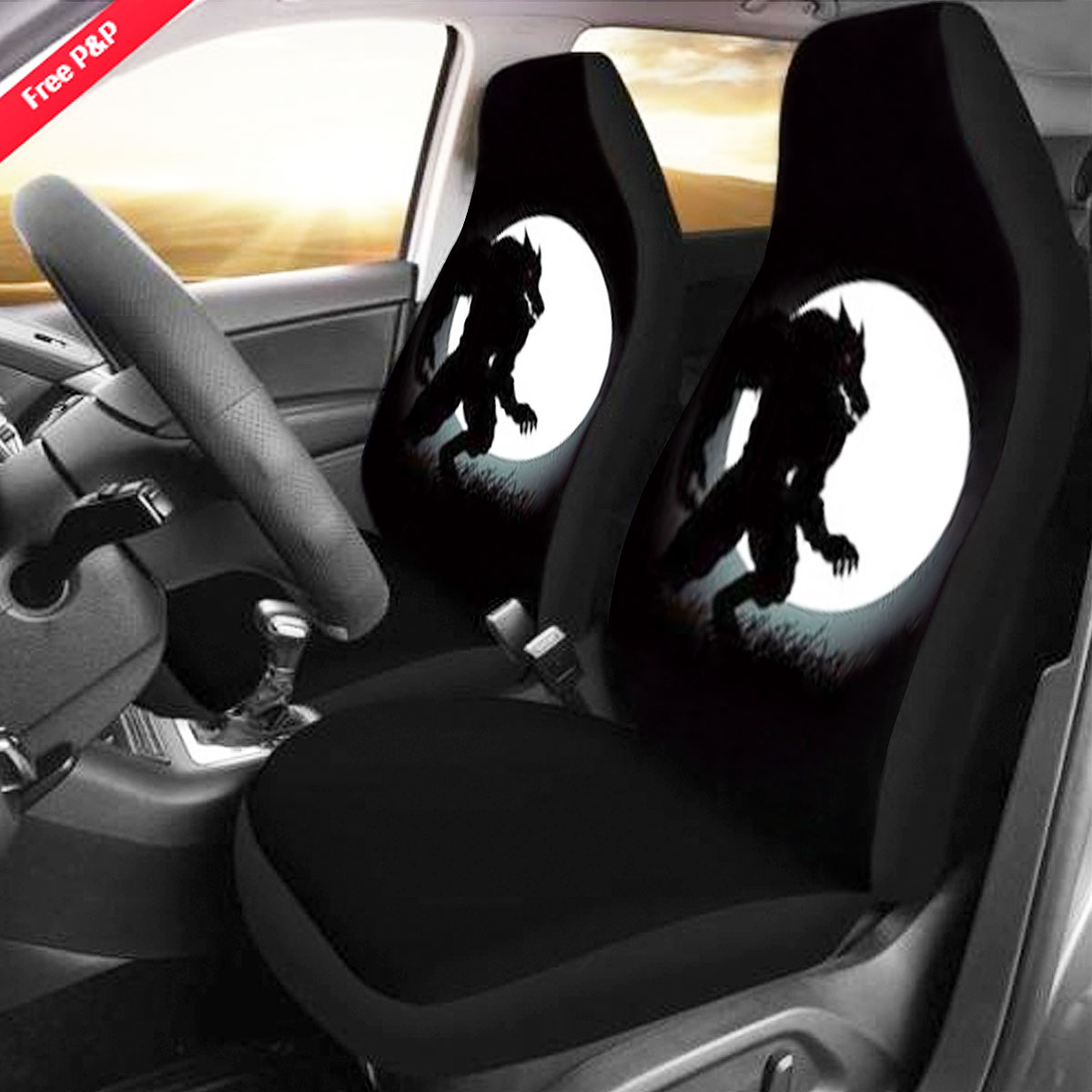 Wolves Howling Print Car Double Seat Cover Cushion Chair Protector Mat Universal