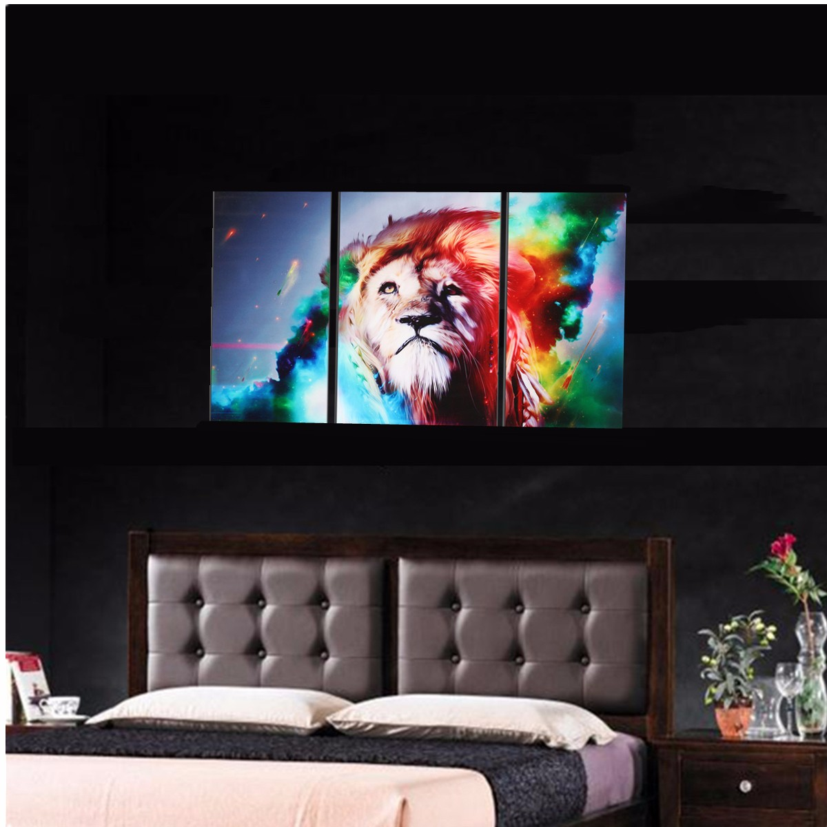 Big Colorful Lion Frameless Canvas Prints Modern Wall Art Picture Home Decor