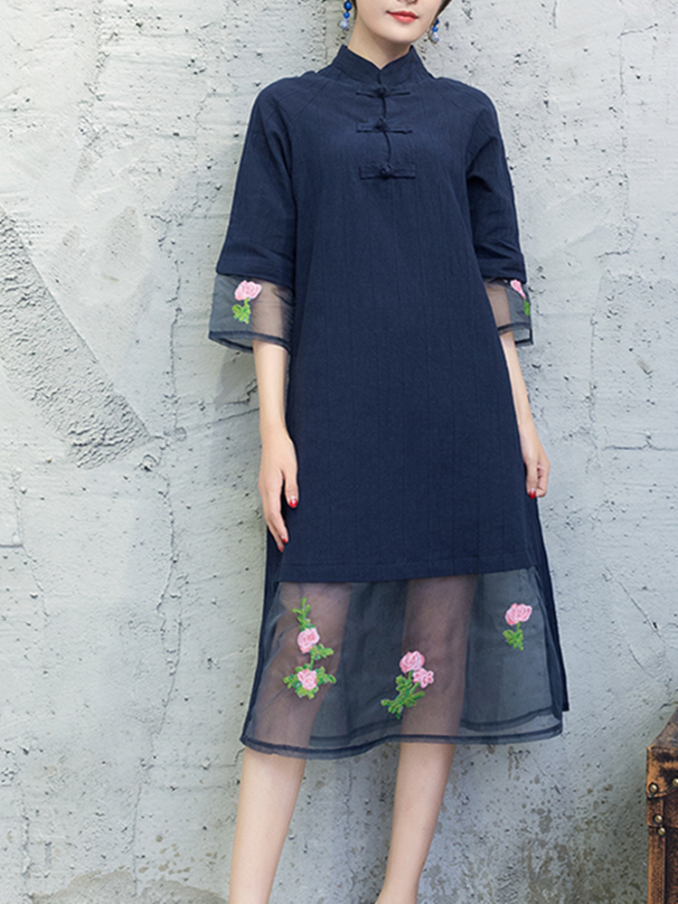 Vintage Embroidered Half Sleeve Patchwork Plate Buckle Women Dresses