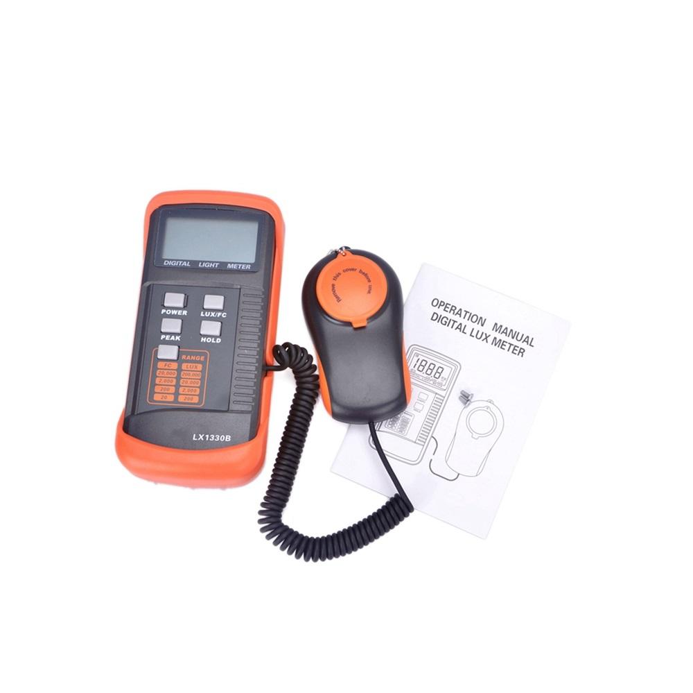 LX1330B Digital Lux Meter 200000 Lux Lux/FC Measurement Light Meter Detect Light Intensity Precise Data Hold Peak Reading Hold Function