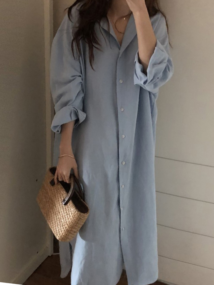 Plus Size Women Loose Solid Color Long Sleeve Shirt Dress