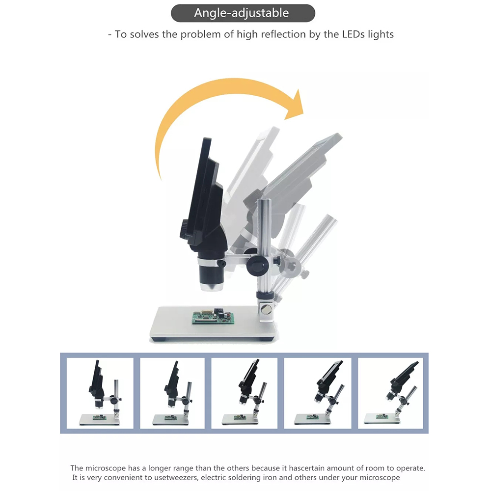 MUSTOOL G1200 Digital Microscope 12MP 7 Inch Large Color Screen Large Base LCD Display 1-1200X Continuous Amplification Magnifier with Aluminum Alloy Stand Power Supply Version