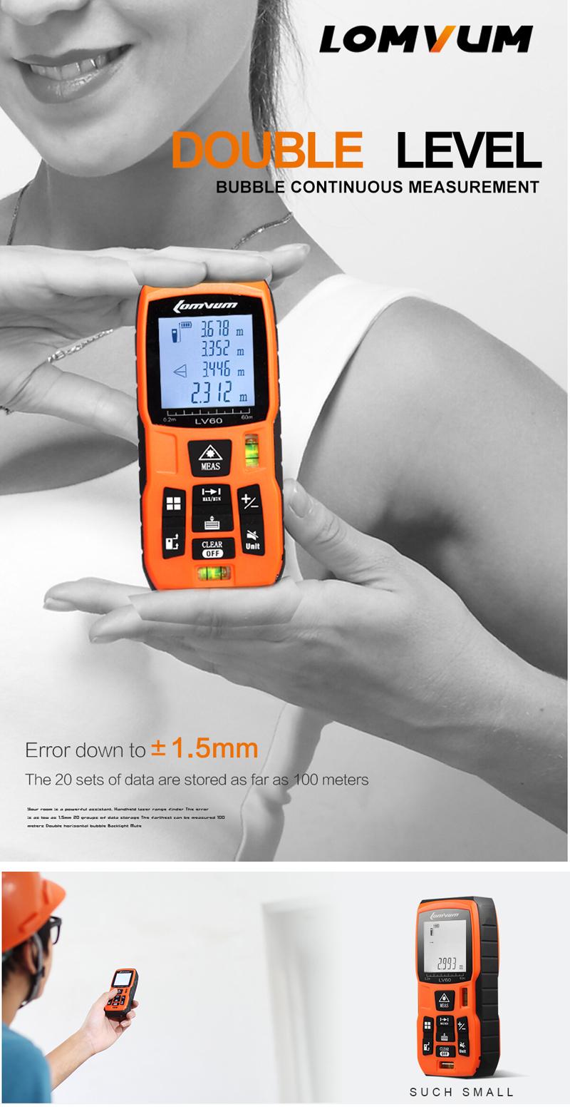 LOMVUM 40m 50m 60m 80m 100m Laser Rangefinder Digital Distance Meter with Rechargable Batteries+Charger
