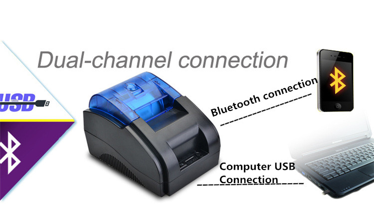 MHT-P58A 58mm Wireless bluetooth USB Thermal Printer Receipt Machine Pos 80mm/s Print Speed EU Plug