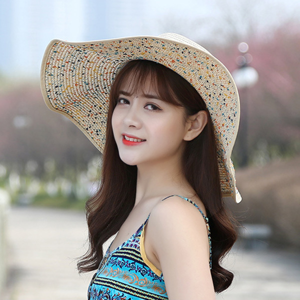 Women Wide Brimmed Bucket Hat Beach Dress Visor