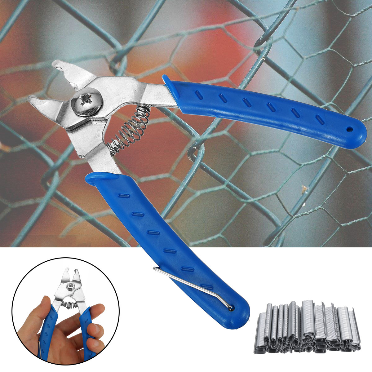 2500Pcs Hog Rings C Type Staples Clips Rings Steel Wire Fencing For Pet Cage Plier