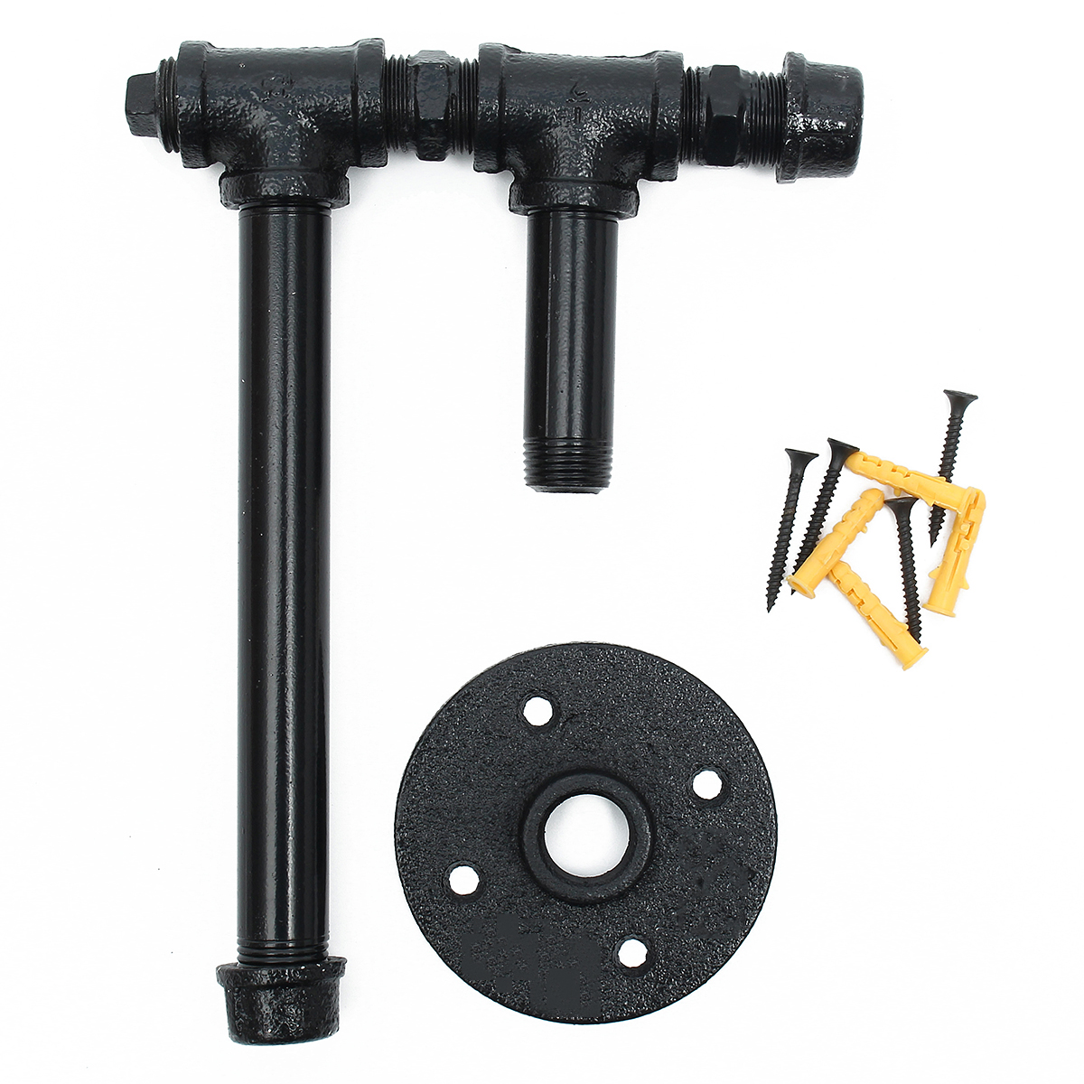 220mm Industrial Iron Pipe Tissue Holder Rustic Wall Mount Black Toilet Paper Roll Holder