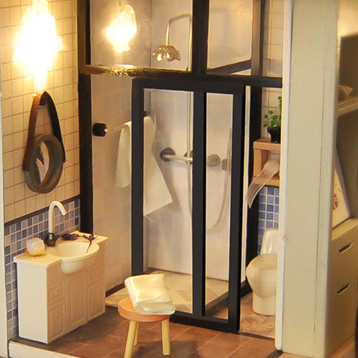 New Mini Cockloft DIY Doll House Miniatures Furniture Kit Kids Gift LED Light