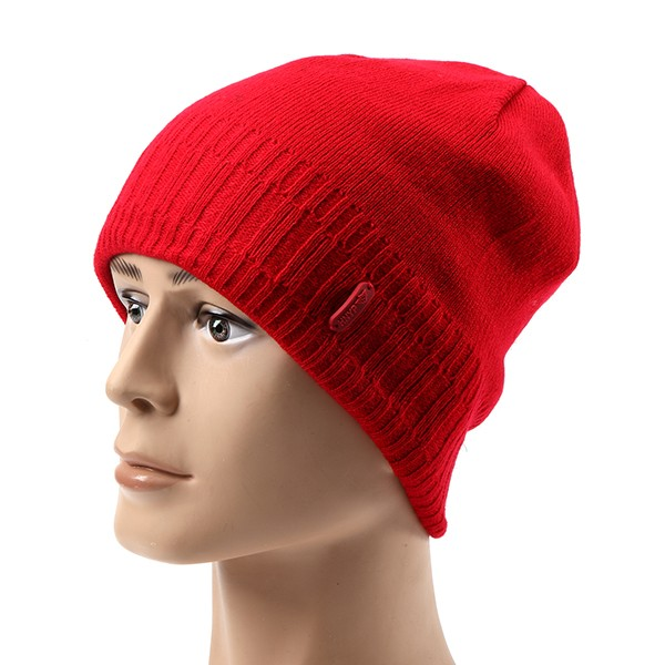 Men Wool Thicken Knitted Skiing Beanie Skull Cap Beanies Solid Color Hat