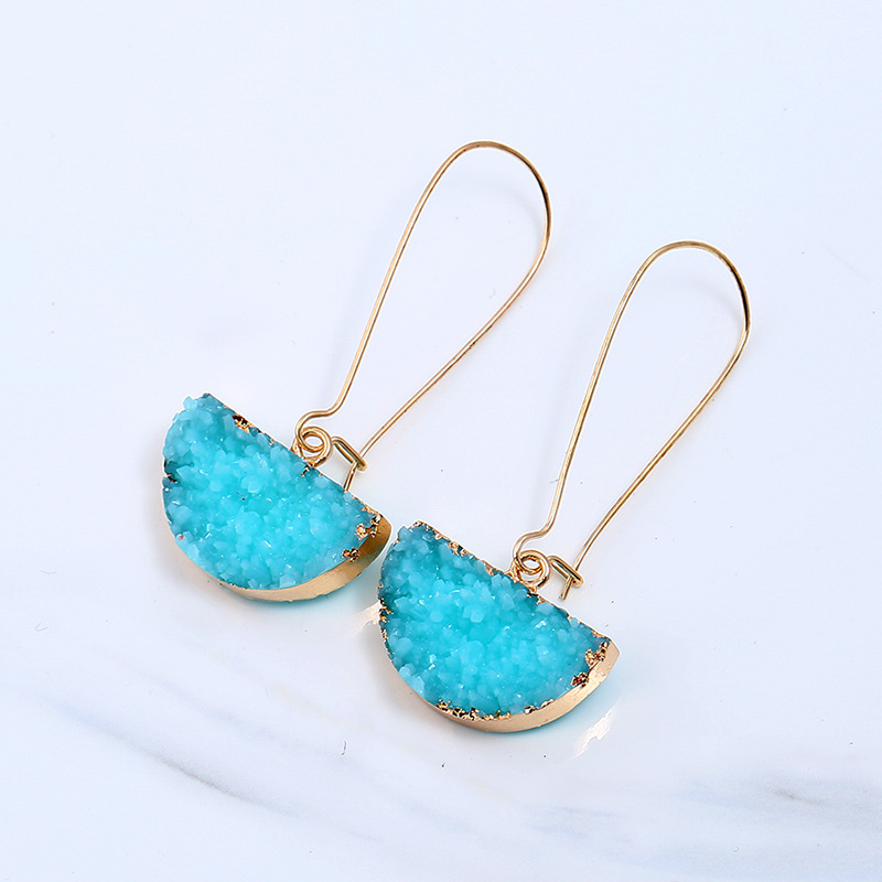 Semicircle Geometric Natural Crystal Stones Dangle Earrings