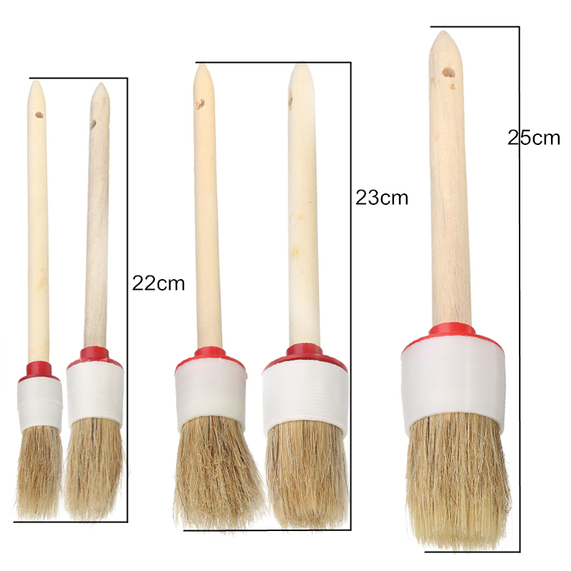 5Pcs Wood Handle Soft Car Detailing Brushes For Cleaning Vents Dash Seats Wheels
