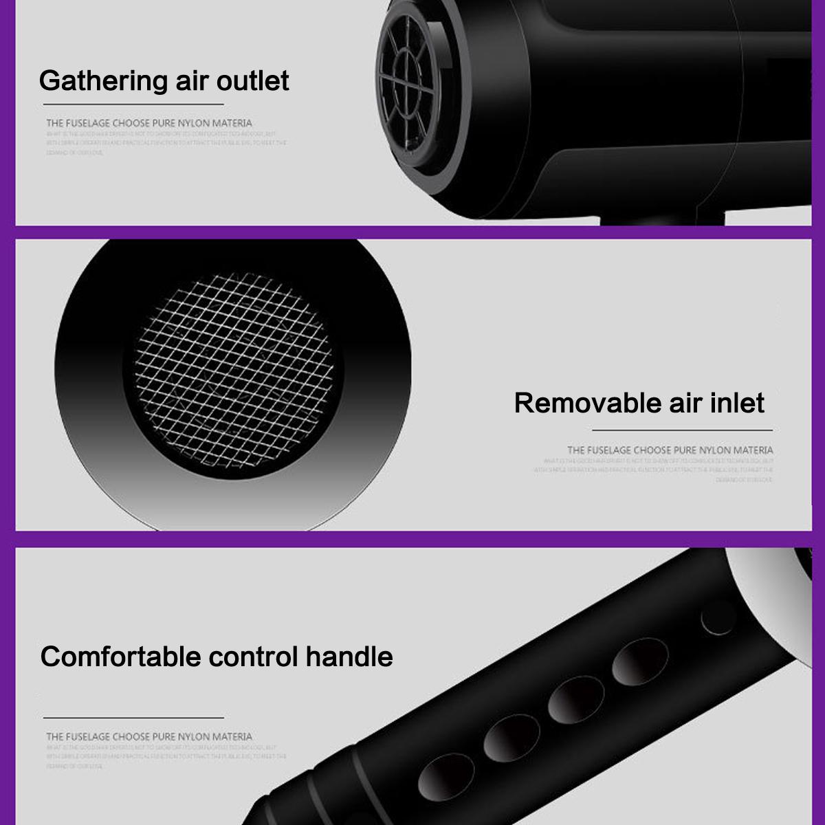 2200W Black Hot Hair Dryer Diffuser & Concentrator Nozzle Blower Pro Salon
