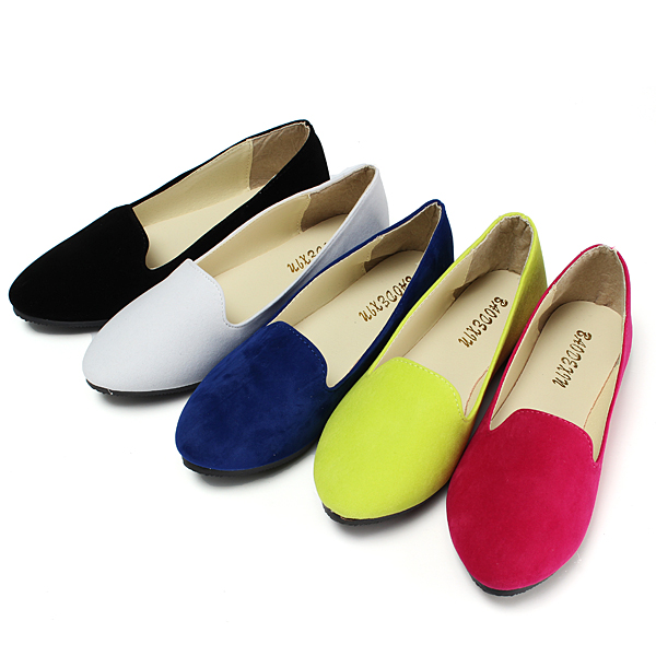 Ladies Loafers Faux Suede Leather Ballerina Dolly Flats Flat Ballet Flat Shoes
