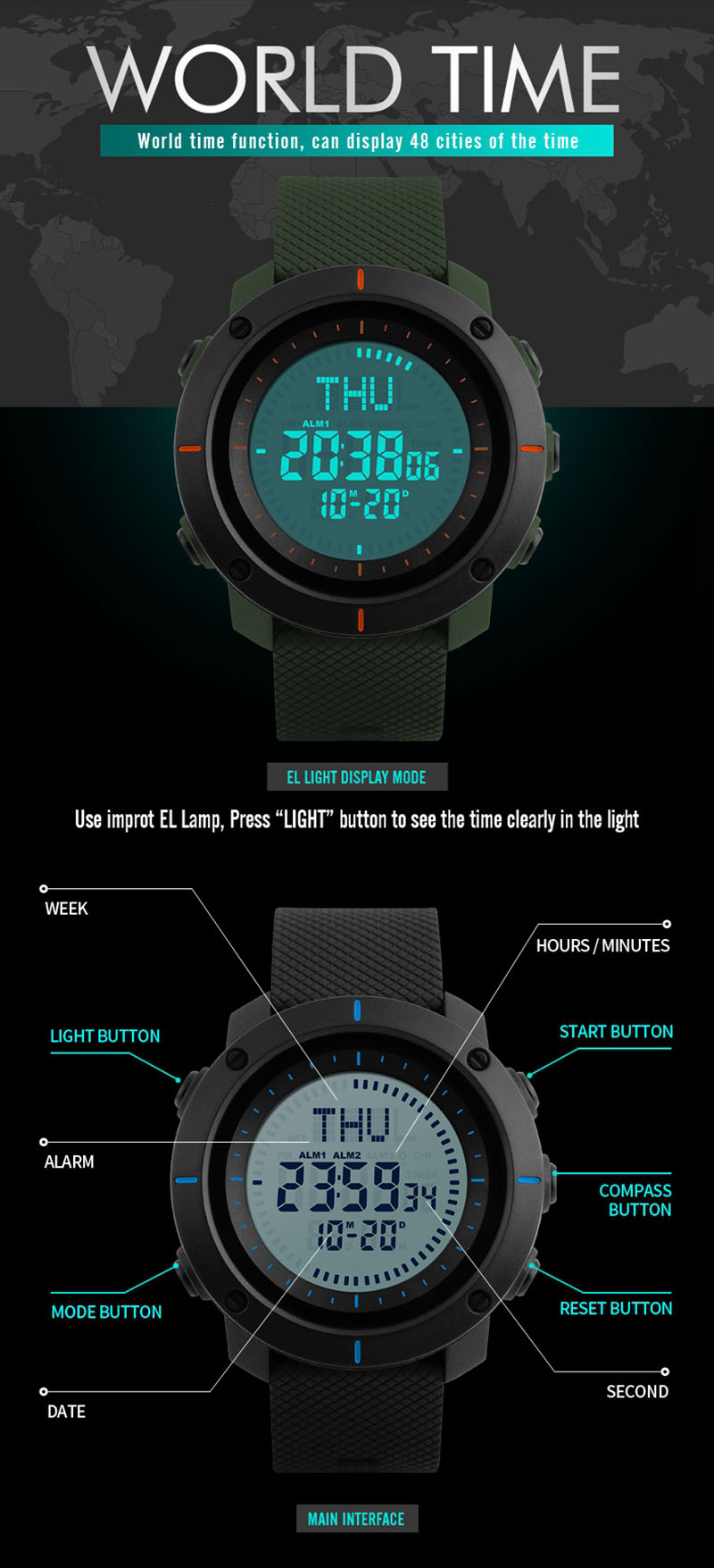 SKMEI 1216 Men Digital Watch Outdoor Compass Chronograph 50M Waterproof Sport Watch