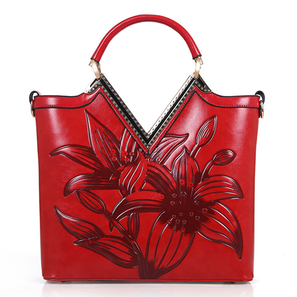 Details: Material PU Leather Color Red,Green,Blue,Brown Weight 900g Length 30cm(11.81'') Height 31cm(12.21'') Width 10cm(3.15'') Handle Height 8cm(3.93'') Pattern Floral Inner Pocket 1 Main Compartment.1 Zipper Pocket,2 Slots Closure Zipper Package Includ #handbag