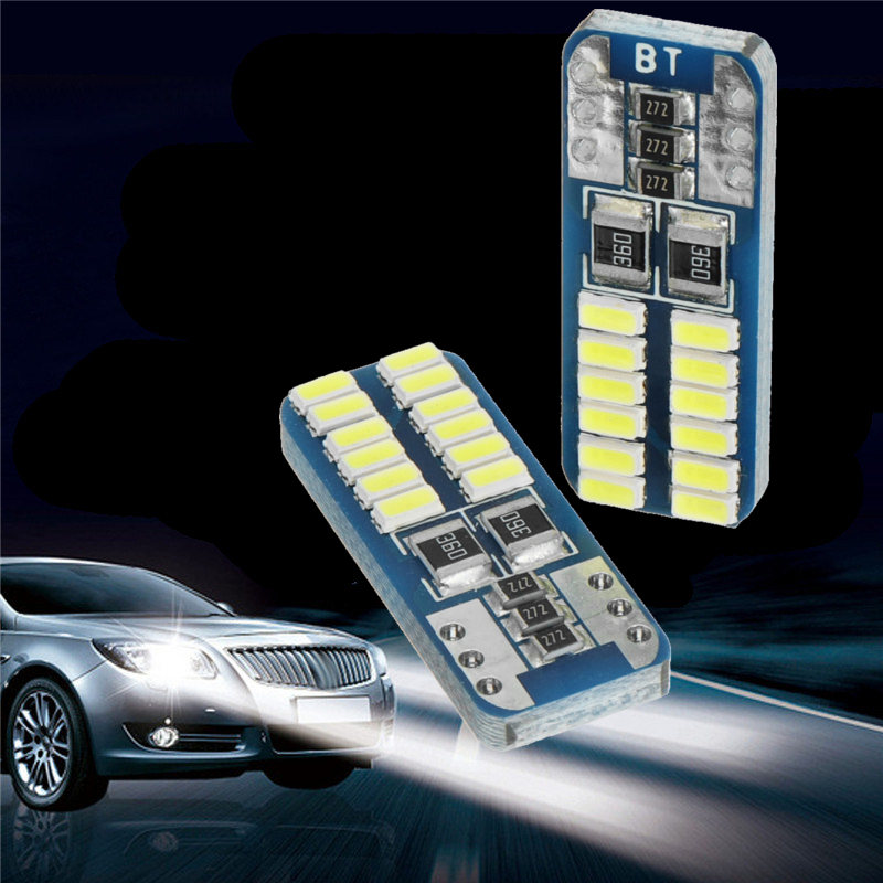 10pcs T10 W5W 2825 3014 24SMD 12V 5W LED Car Side Marker Lights Bulbs with Canbus No Error